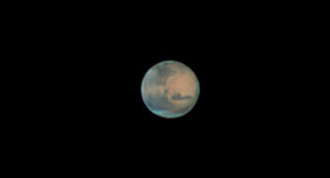 In June, Mars can be seen with a small telescope.