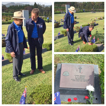 Minister Tehan with Aussie veteran Mr Les Hall paying respects to Corporal A G Smith killed lying next to Mr Hall in a foxhole, while Mr Hall emerged unscathed.