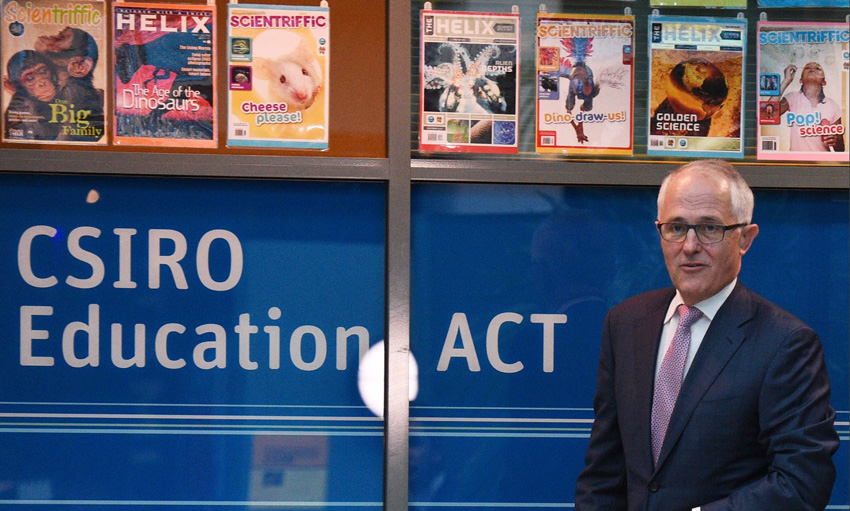 The prime minister, Malcolm Turnbull, announces his innovation statement at the Discovery Centre at the CSIRO in December last year. Photograph: Mick Tsikas/AAP