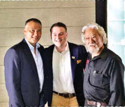 Josh Gilbert with broadcaster Stan Grant and Professor David Suzuki at the ceremony naming Gilbert Australian Geographic Young Conservationist of the Year.