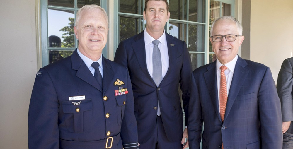 L-R: Chief of Defence Force Air Chief Marshal Mark Binskin AC, Ben Roberts-Smith VC and Prime Minister of Australia the Hon Malcolm Turnbull MP at the Launch of the Prime Minister's Veterans' Employment Program at Kirribilli House, Sydney on 17 November, 2016.
