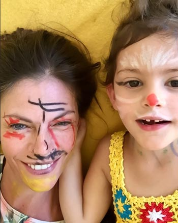 Selfie of Bronte Davies and her daughter Vivi with face paint