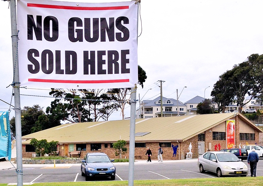 Narooma Sports and Recreation Centre gun amnesty banner