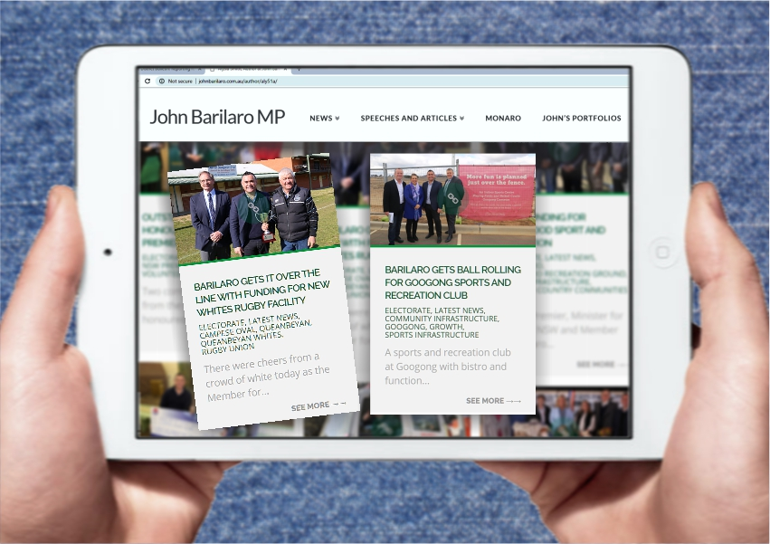 barilaro website mockup