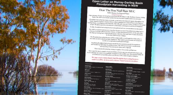 open letter Murray-Darling floodplains